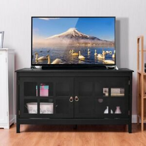 Home Tv Stand Modern Wood Storage Console With 2 Glass Doors Black