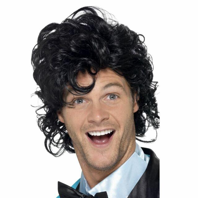 Mens Black 80s Singer Wig Retro Prom King High School Curly Perm American Boy