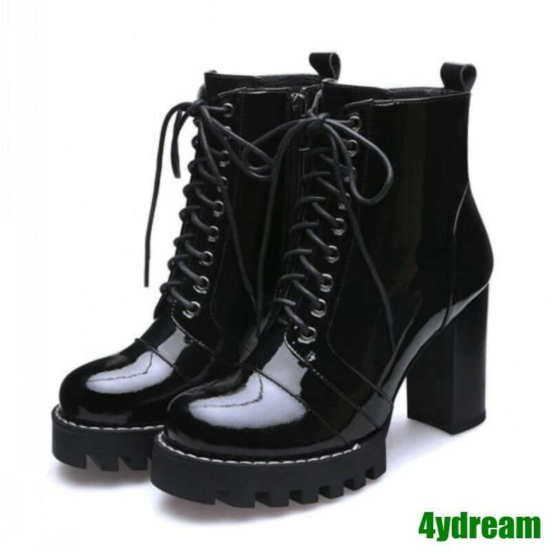 Ladies Patent Leather Ankle Boots Lace Up Chunky heels Motorcycle Combat shoes