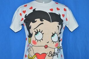 vintage-90s-BETTY-BOOP-WHITE-CRISP-DEADSTOCK-ALL-OVER-PRINT-NWT-t-shirt-YOUTH-M