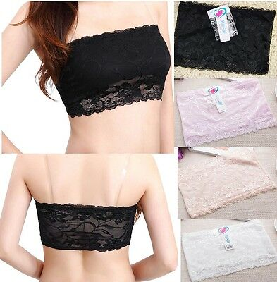 Soft  Women Stretch Strapless Boob Tube Top Bandeau Sexy Bra Lace 4 Colors