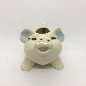Vintage Shawnee Pottery Smiling Pig Planter Creamer Pitcher Blue Ears