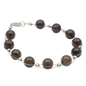 Armband-aus-echtem-Rauchquarz-braun-925-Silber-Armkette-Armschmuck-fuer-Damen