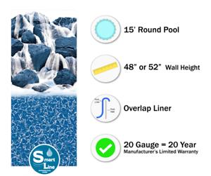 20 Gauge 15/' Round Overlap Waterfall Above Ground Swimming Pool Liner