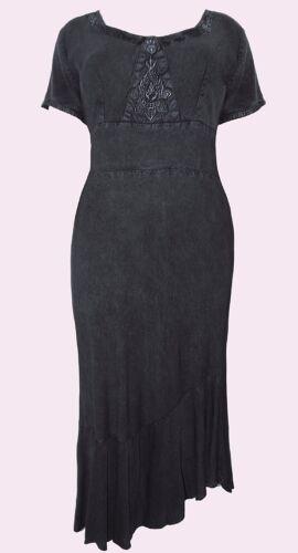 NEW Eaonplus BLACK Pendulum Embroidered Flute Hem Dress Sizes UK 18//20 to 30//32