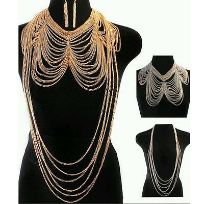 3PC Set Vtg Women Multilayer Tassel Statement Bikini Necklace Waist Body Chain C