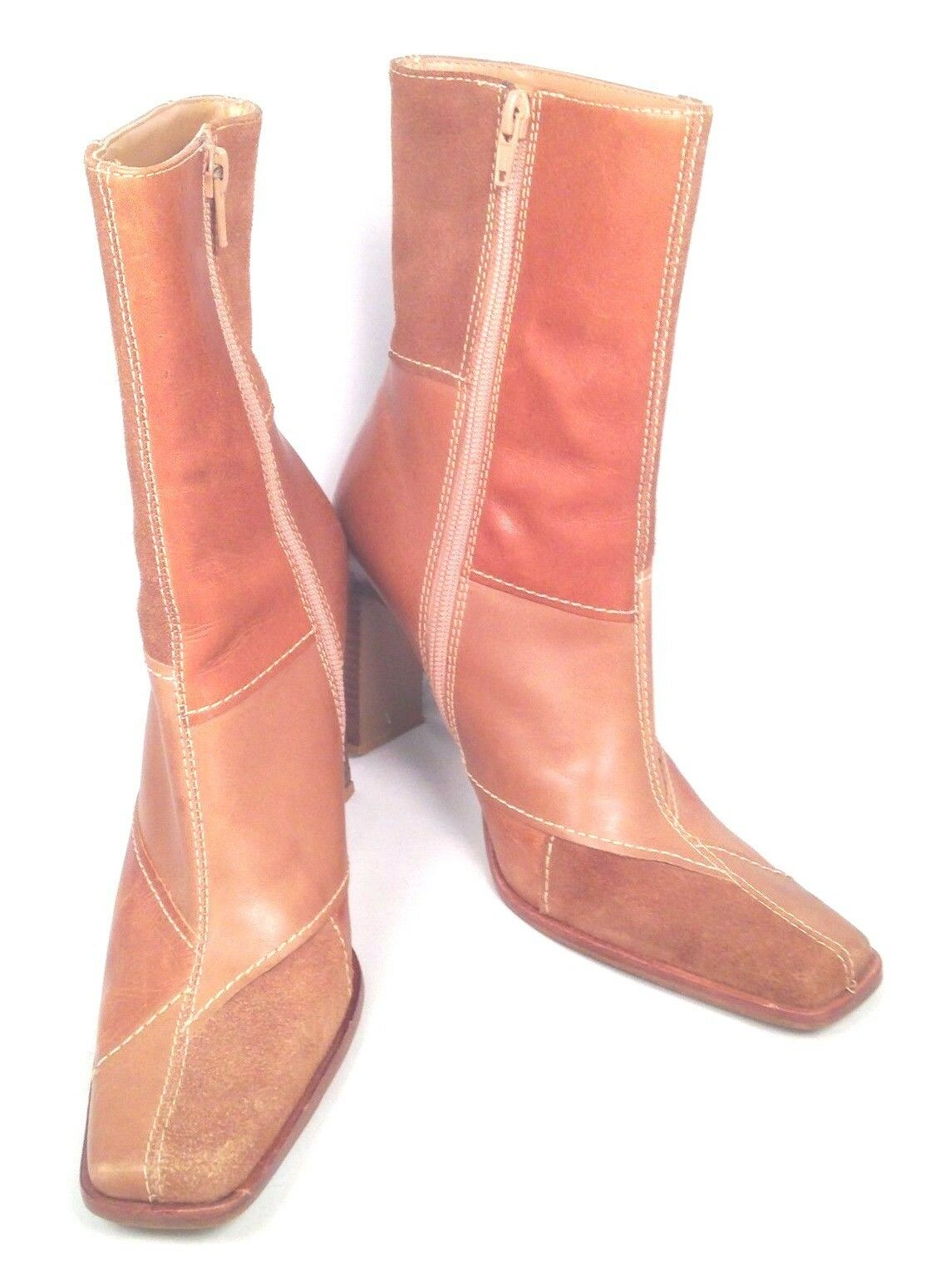 STEVE MADDEN JAVAA BROWN LEATHER & SUEDE FASHION ANKLE BOOTS WOMENS 7 B EUC