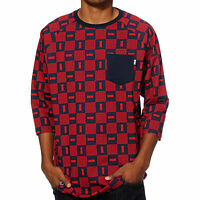 Dgk Checkers Baseball Pocket Raglan 3/4 Sleeve T-shirt Tee Red Mens M Xl