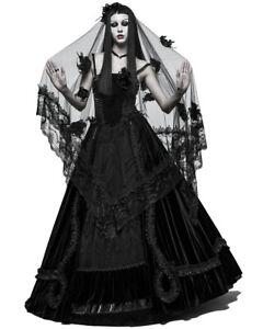Punk-Rave-Womens-Gothic-Wedding-Veil-Black-Rose-Lace-Steampunk-Victorian-Bride
