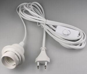 kabel mit fassung lampenfassung wei e27 3 5m zuleitung schalter mit stecker ebay. Black Bedroom Furniture Sets. Home Design Ideas