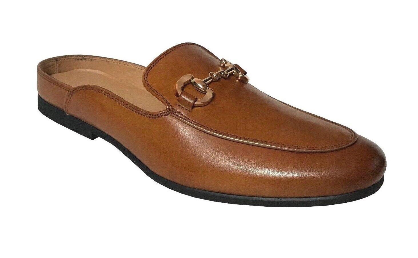 La Milano Homme Cognac Cuir   Mules Dos Ouvert Slip-Chaussures en A11646