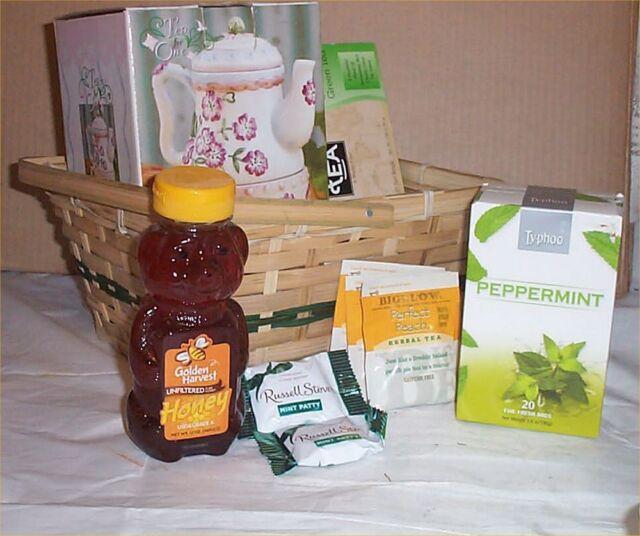 Gift Basket Tea Pot Cup Set Choc Teas Candy Honey Holiday ...