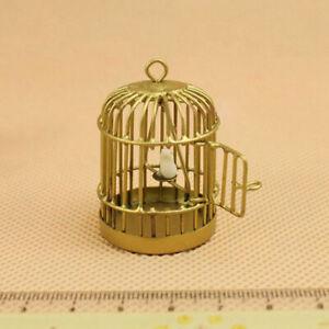 Metal-Bird-Gold-Cage-W-White-Bird-for-1-12-Dollhouse-Miniature-set-Kids-Super
