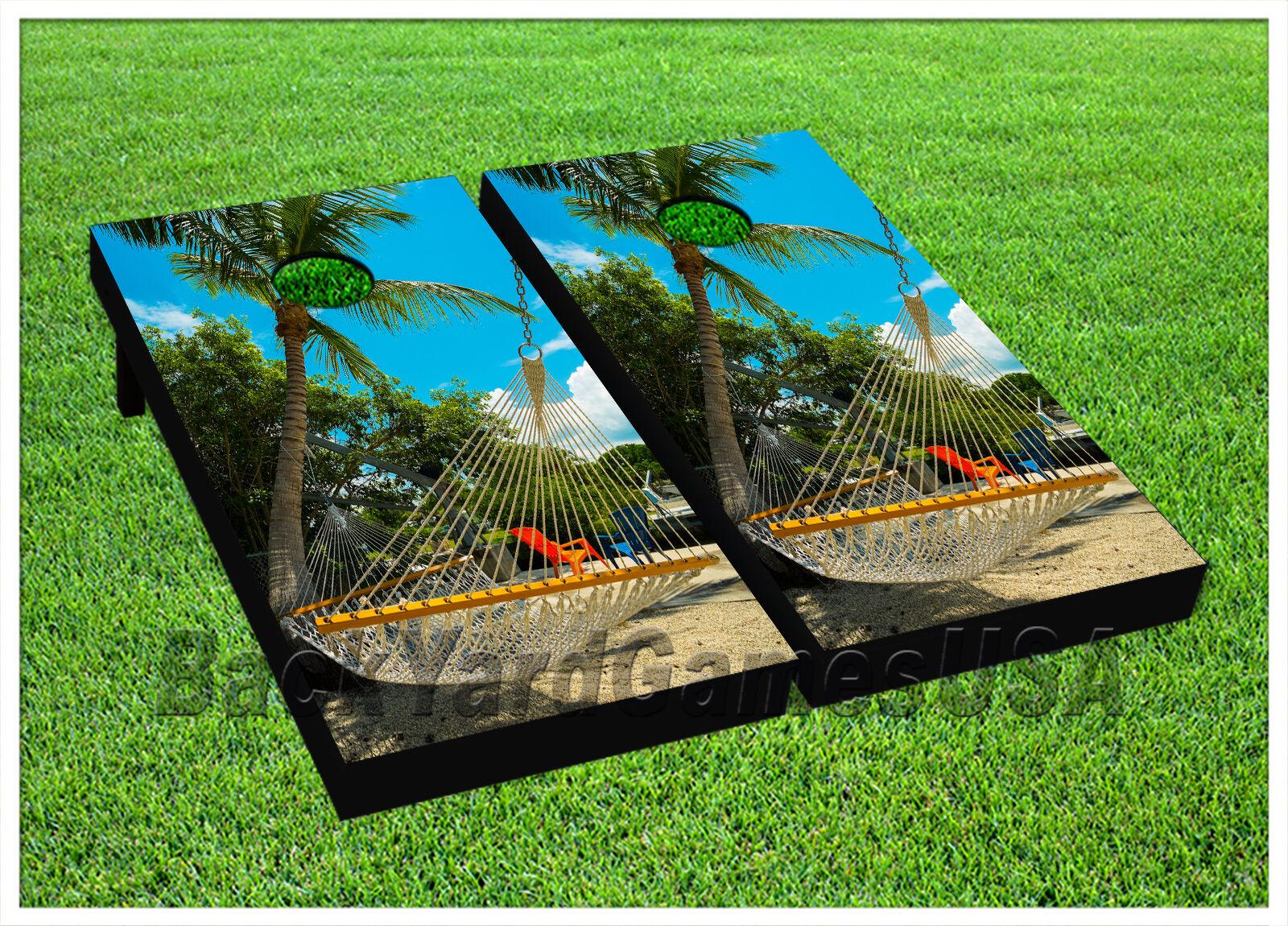 Paradise Beach CORNHOLE BEANBAG TOSS GAME w Bags Game Boards Digital  Set 1033