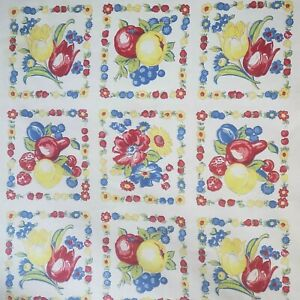 Vintage-Cotton-Floral-Fruit-Blocks-on-White-1-yard-41-034-Wide-Red-Blue-Yellow