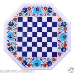 """36"""" White Marble Coffee Chess Table Top Multi Stone Inlay Floral Art Decor H2389"""