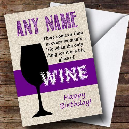 Big Glass Of Wine Personalised Birthday Greetings Card