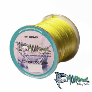 New Braid Fishing Line 100LB 500M Mongrel Fishing Tackle Braid Yellow RRP $35.00