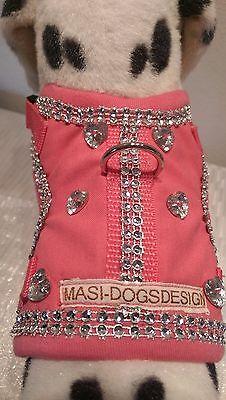 Offen Softgeschirr Brustgeschirr Hundegeschirr Glitzer Halsband Xs-m Welpen Pink Herz