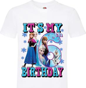 Frozen It/'s My 6th Kids Birthday Tshirt Happy Birthday 6 Boys Girls Elsa