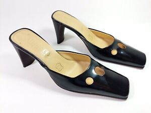 b8c1caefe84 Details about Migato Italian Made Black Patent Leather Mid Heel Mules Uk 4  Eu 37 Leather Soles