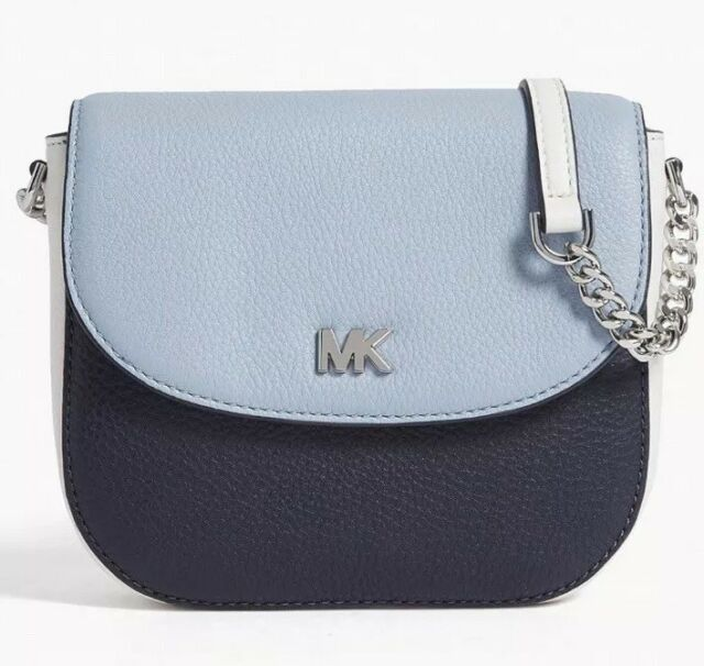 45f79a5750c8 New Michael Kors Half Dome Crossbody Admiral white blue leather magnetic Bag