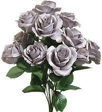 GRAY  ~ 12 OPEN LONG STEM ROSES Silk Wedding Flowers Bouquets Centerpieces Decor