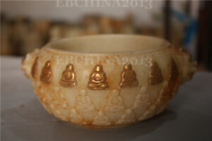 6-034-Chinese-Old-White-Jade-Hand-carved-Pixiu-Beast-Buddha-Relief-Jar-Jug-Pot