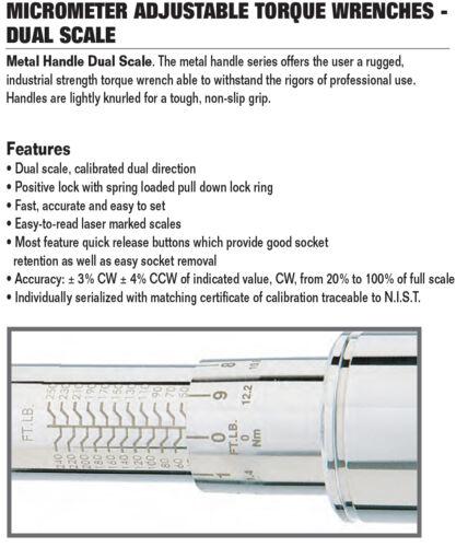 """Metal Kurled Handle Torque Wrench CDI #1002MRMH USA 3//8/"""" Drive 10-100 ft.lbs"""