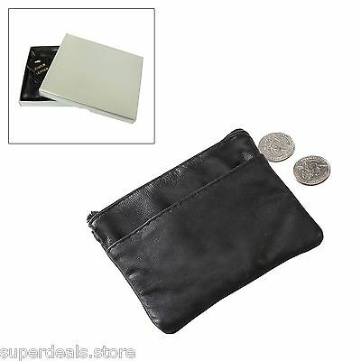 AP7120 Black NAPA Leather Zip Top Coins Keys Pouch