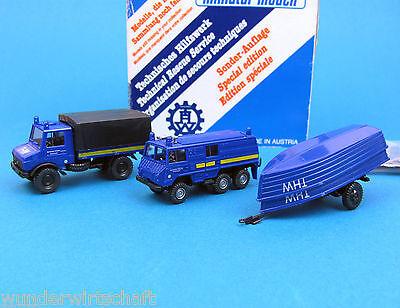 Roco H0 1332 THW-SET Unimog 1300 Pritsche + Pinzgauer 6x6 +Boote 1:87 HO OVP