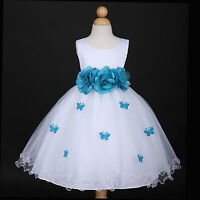 White/Turquoise Blue Party Wedding Flower Girl Dress 6M 12M 18M 2 4 5/6 7/8 9/10