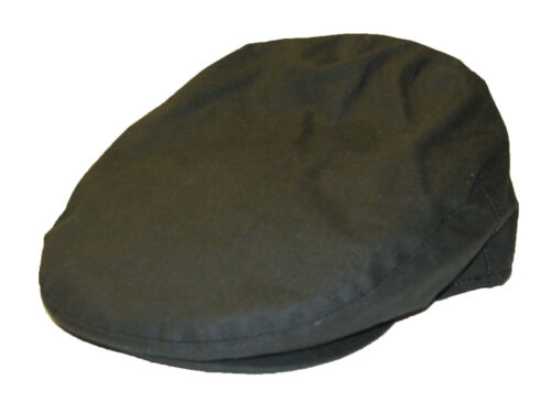 Quality Men/'s Gent/'s Traditional Fully Lined Wax Cotton Flat Cap in Olive Green