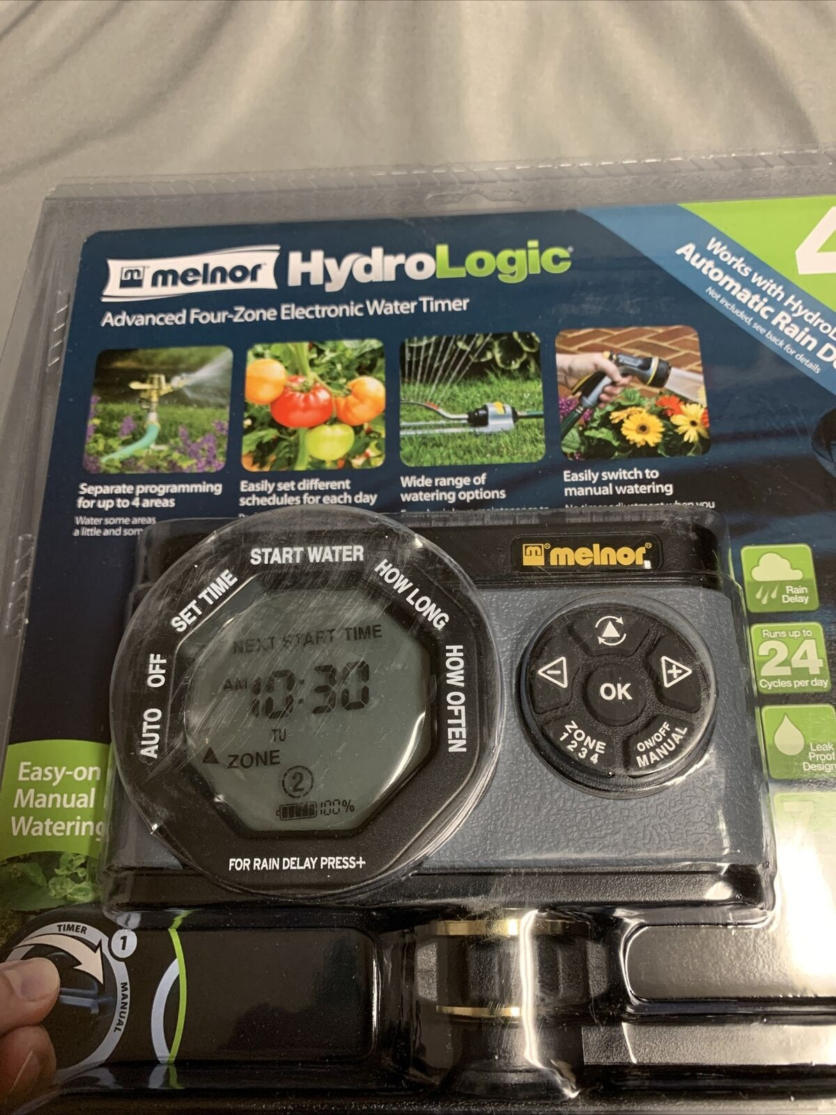 Melnor HydroLogic 53280 Advanced 4 Four-Zone Electronic Water Timer Easy Program