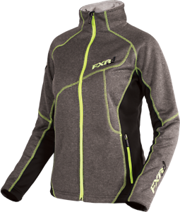 FXR WOMENS LADIES ELEVATION PILE ZIP UP JACKET-Gray Heather/ Lime - 8- 12- 16-18