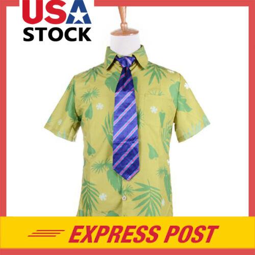 Movie Zootopia Fox Nick Wilde T Shirt and Tie Cosplay Mens Halloween Costume Tee