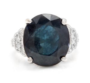 20.60 Ct Natural Australian Sapphire & Diamond 14K White Solid gold Ring