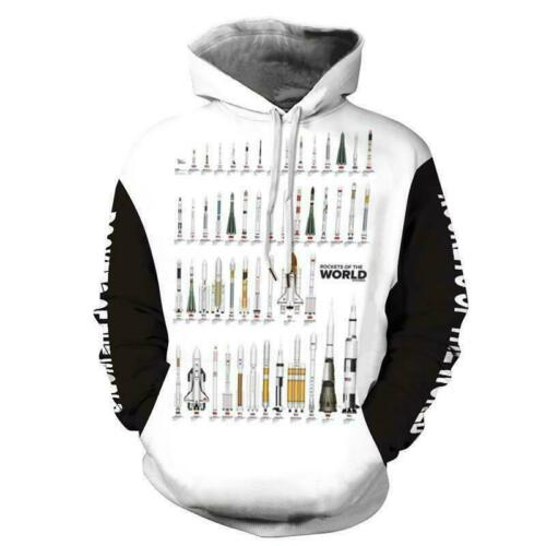 Mens Womens 3D Print Hoodies Hooded Rocket Alien Print Sweatshirt Pullover Tops