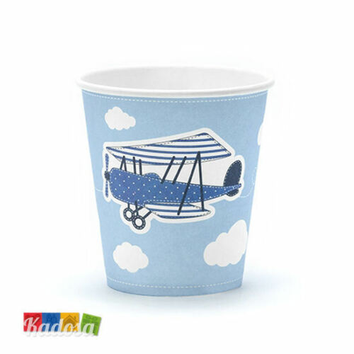 Compleanno Festa in Scatola Tema PILOTA Set 6 pz Bicchieri Aeroplano Azzurri
