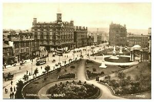 Vintage-postcard-Donegall-Square-Belfast-Northern-Ireland-tram-cars-W-E-Walton