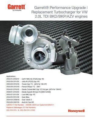 Turbolader VW AUDI SEAT SKODA 2.0 TDI 03G253014HV 140PS Turbocharger Garrett