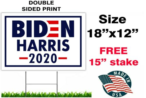 """JOE BIDEN HARRIS FOR PRESIDENT 2020 12/""""x18/"""" YARD SIGN WITH STAKE CAMPAIGN"""