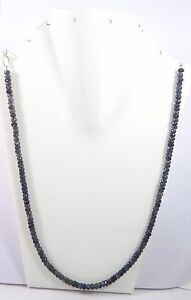 161.70Ct 5.5-7.5mm Natural Iolite Gemstone Rondelle Faceted Beads NECKLACE S119