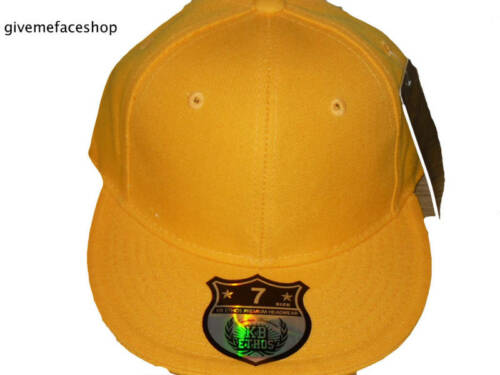 fitted baseball brim hats unisex Brand new Ethos plain yellow flat peak caps