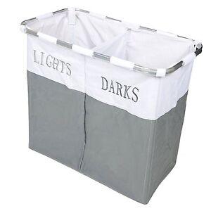 Twin-Section-Lights-amp-Darks-Laundry-Basket-Hamper-Sorter-Bin-Foldable-NEW