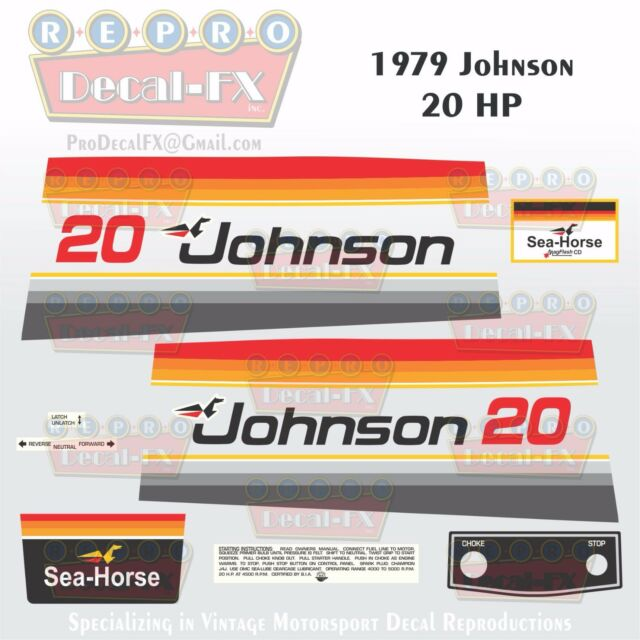 1979 Johnson 2 HP Sea Horse Outboard Reproduction 12 Pc Marine Vinyl Decals
