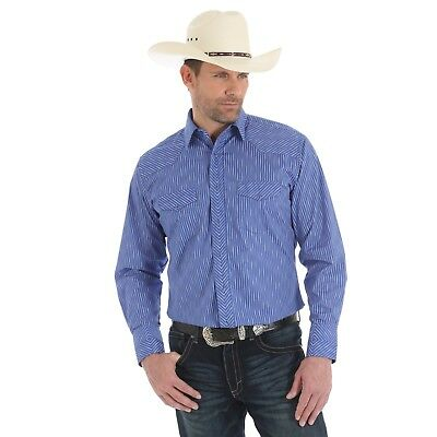 94af7aca Wrangler Silver Edition Mens Long Sleeve Western Shirt, 75777PR, Royal/  Silver