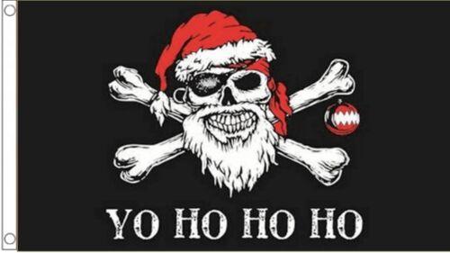 Pirate Santa Seasonal Skull /& Crossbones YO HO HO HO Christmas 5/'x3/' Flag