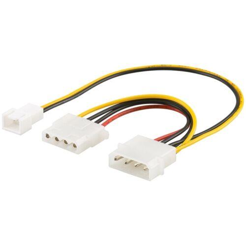 """3-polige 12V-Buchse 14cm Internes Strom-Kabel für PC 5¼/""""-Stecker an 5¼/""""-Buchse"""