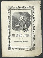 Holy card lamina antique recorded de San Andres Avelino estampa santino
